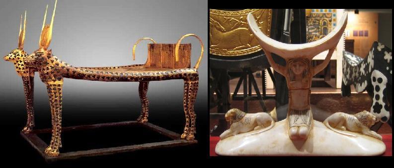 Decoracion Egipcia Antigua ~ Cama egipcia y base para apoyar la cabeza (?almohada?)